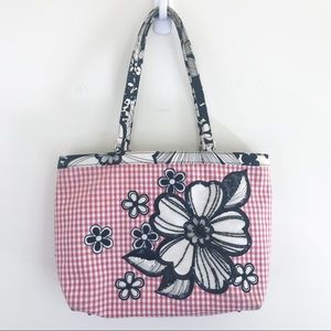 RARE Isabella Fiore red gingham floral sequin bag
